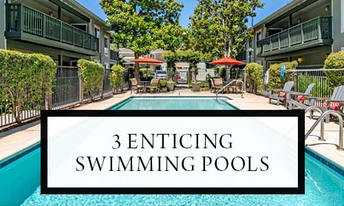 Three enticing swimming pools at Pleasanton Glen Apartment Homes in Pleasanton, California