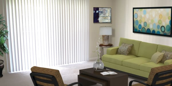 Spacious living room at East Meadow Apartments in Fairfax, Virginia