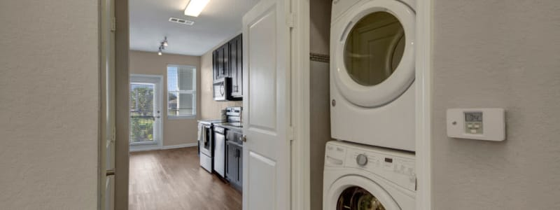 In-unit washer and dryer at Linden on the GreeneWay in Orlando, Florida