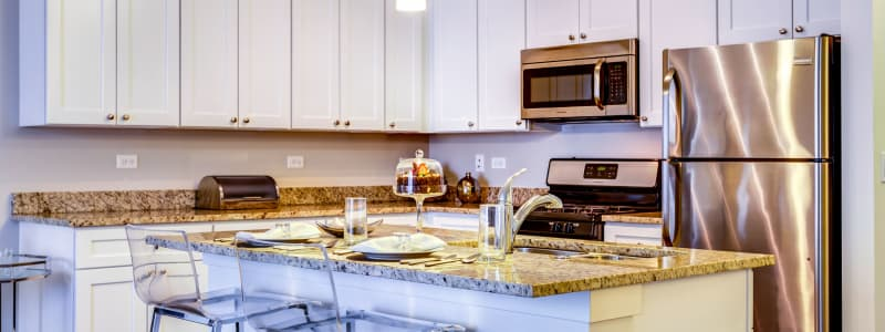 Stainless steel appliances at The Oaks Of Vernon Hills in Vernon Hills, Illinois
