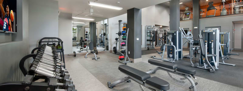 A well equipped fitness center at Linden Crossroads in Orlando, Florida