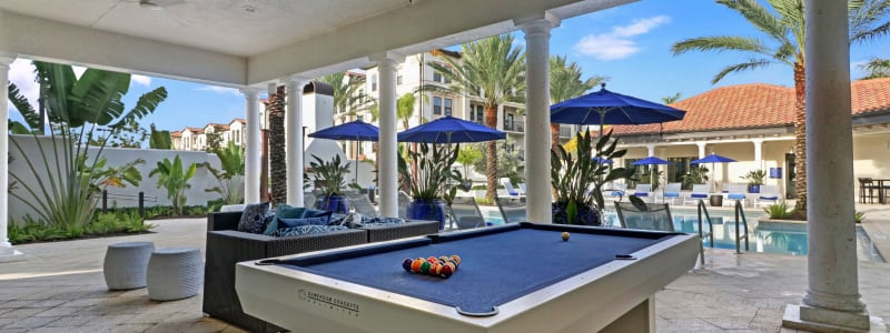 Poolside billiards lounge at Linden Pointe in Pompano Beach, Florida
