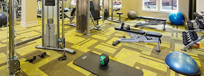 Fitness center at Palette at Arts District in Hyattsville, Maryland