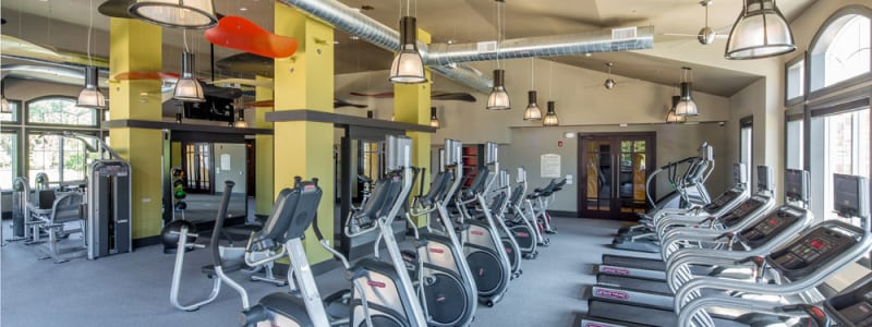 Spin bikes and treadmills at The Grove Somerset in Somerset, New Jersey