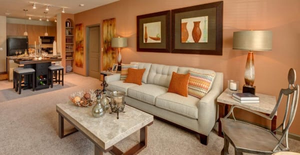 Spacious living room in model apartment home at The Addison at South Tryon in Charlotte, North Carolina