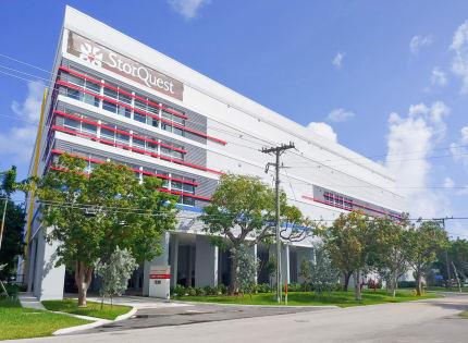 Self storage building exterior at StorQuest Self Storage in Miami, Florida
