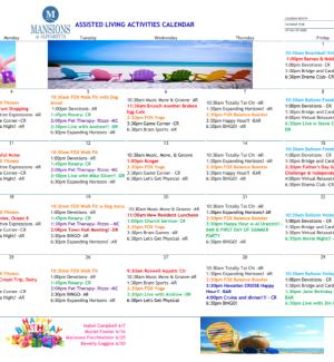Assisted Living Calendar for The Mansions at Alpharetta in Alpharetta, GA