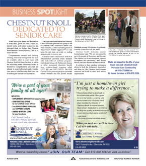 Chestnut Knoll and Chestnut Knoll at Home were highlighted in a recent edition of the 422 Business Journal
