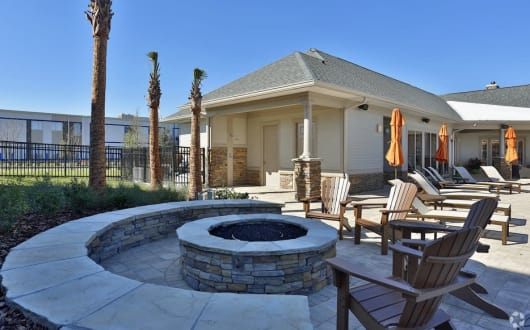 Fire pit lounge at apartments in Ocoee