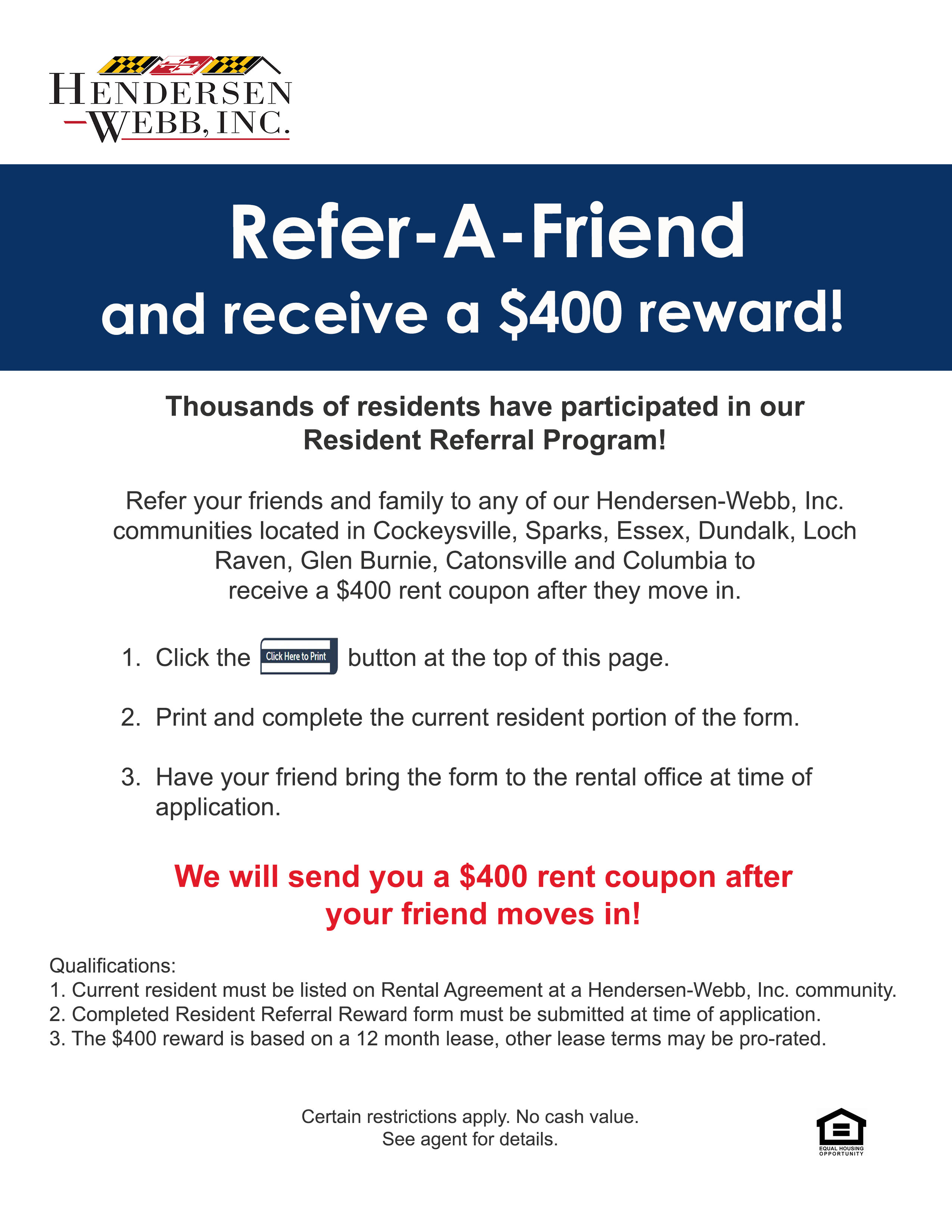 Resident Referral program at apartments in MD