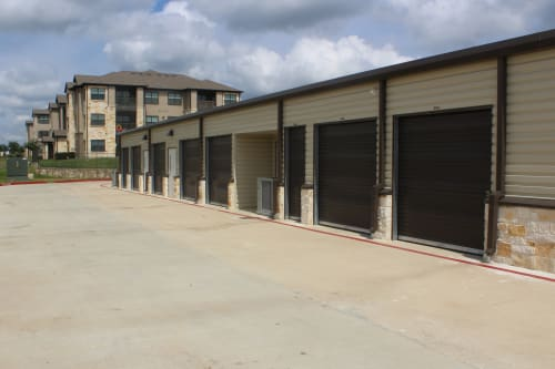 Outdoor storage units at Town Creek Storage in Montgomery, Texas