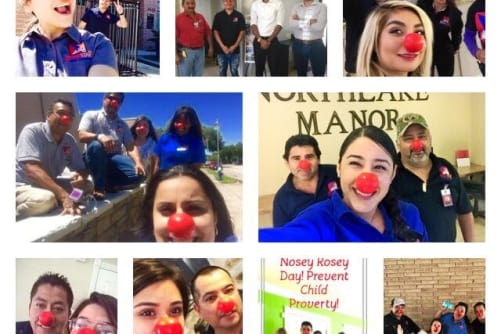 Everyone at Westport Apartments on red nose day in Angleton, Texas