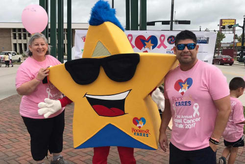 Parkside Apartments's Rocko getting ready to walk for breast cancer