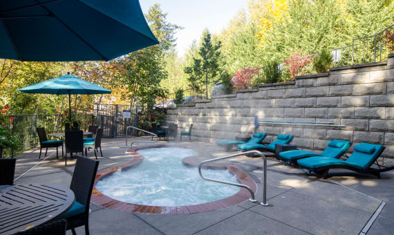 Pool at apartments in Portland