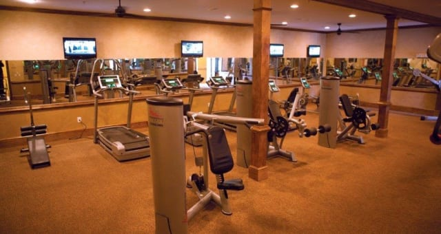 Fitness room at at The District at Phenix City in Phenix City, Alabama