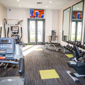 Fitness center at Madrid Apartments