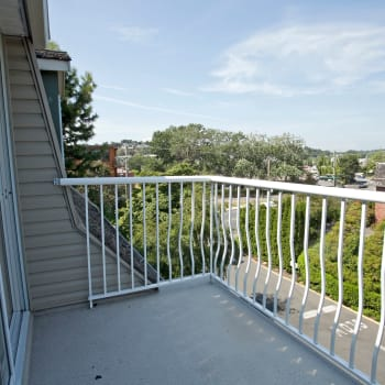 Private balcony at Fraser Tolmie Apartments in Victoria, British Columbia