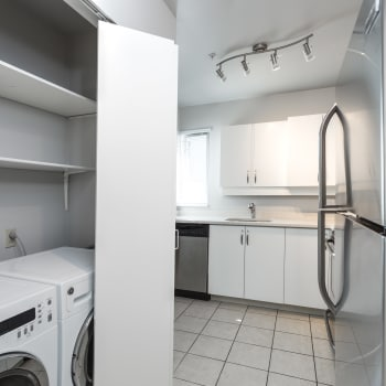Laundry room and kitchen at Larchway Gardens in Vancouver