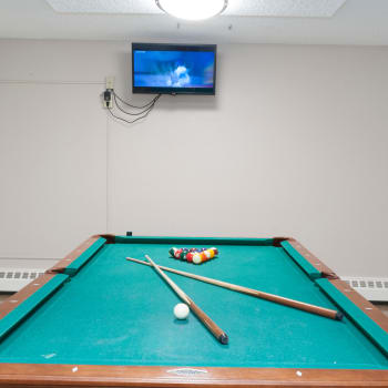 Billiards room at Calgary Place Apartments