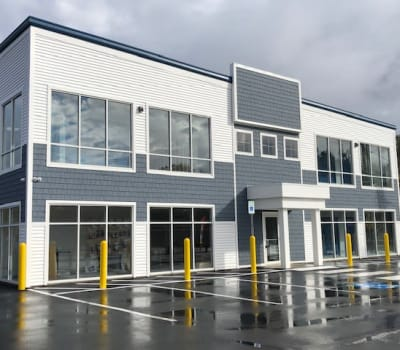 The main entrance at Safe Storage in Kennebunk, Maine