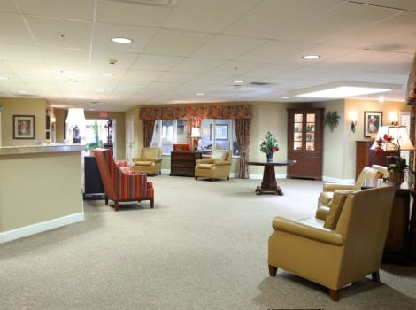 Comfortable meeting area at Mill Creek Alzheimer's Special Care Center in Springfield, IL