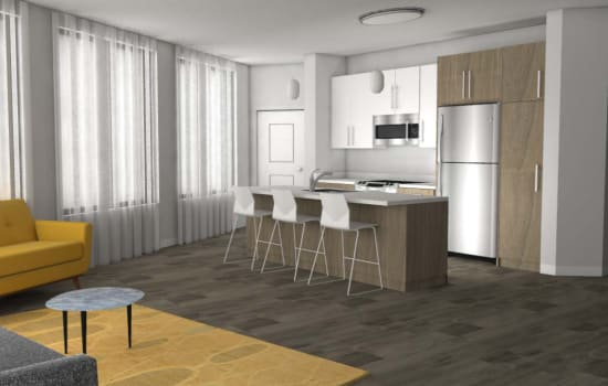 Rendering of open floor plan apartment at Fenton Silver Spring in Silver Spring, Maryland.