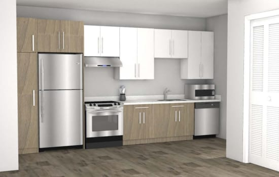 Rendering of a resident kitchen at Fenton Silver Spring in Silver Spring, Maryland.