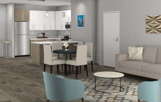 Rendering of an apartment at Fenton Silver Spring in Silver Spring, Maryland.