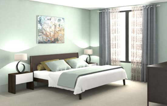 Rendering of bedroom with large windows at Fenton Silver Spring in Silver Spring, Maryland.