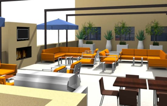 Rendering of rooftop terrace at Fenton Silver Spring in Silver Spring, Maryland.