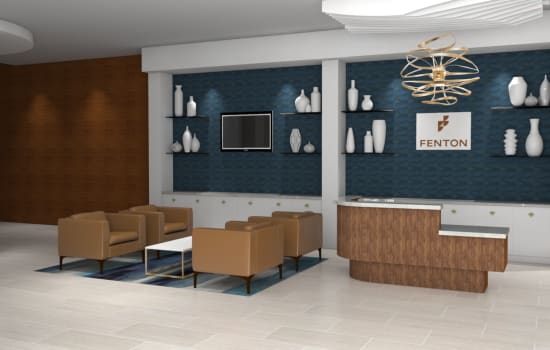 Rendering of waiting area at Fenton Silver Spring in Silver Spring, Maryland.