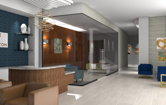 Rendering of reception and private meeting room at Fenton Silver Spring in Silver Spring, Maryland.