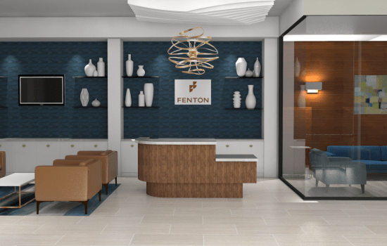 Rendering of reception area at Fenton Silver Spring in Silver Spring, Maryland.