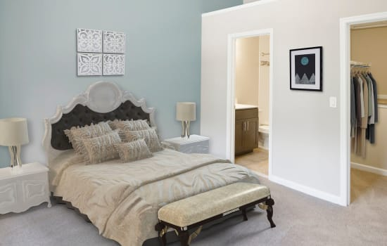 A furnished bedroom at Timberlawn Crescent in North Bethesda, Maryland