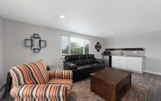 Asbury Plaza offers a modern living room in Denver, Colorado