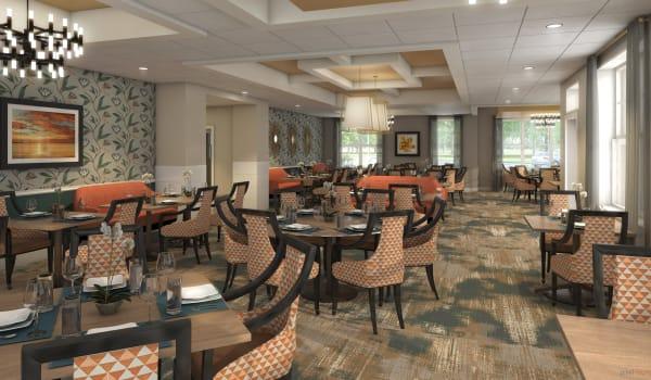 A spacious dining room at Anthology of Farmington Hills in Farmington Hills, Michigan