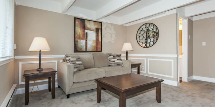 Well decorated living room at Mariners Cove Apartment Homes in Toms River, NJ