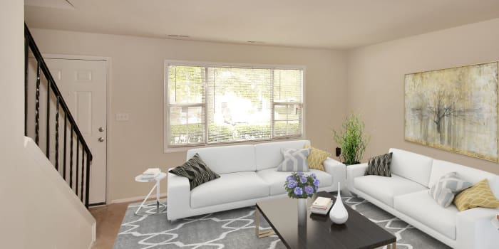 Spacious living room at The Glens at Diamond Ridge in Baltimore, MD