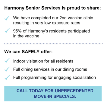Vaccine info at Harmony Senior Services