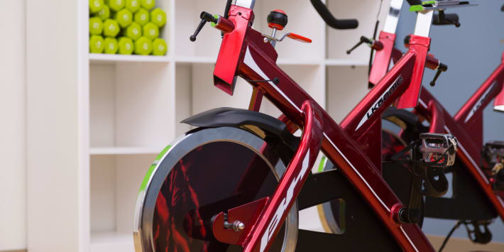Spin bikes at Cielo's fitness center in Seattle, Washington