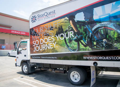 StorQuest branded moving truck of StorQuest Self Storage in Richmond, California