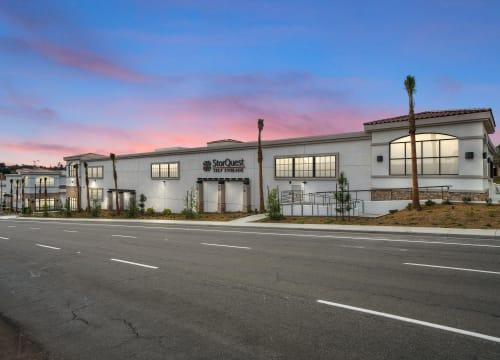 StorQuest Self Storage in Vista, California at dusk