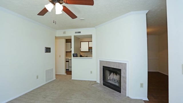 Halcyon Park Apartments offers a living room with fireplace in Montgomery, AL