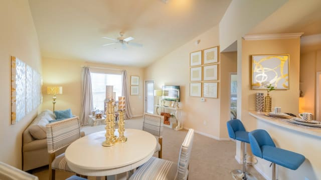 Dining and living room view at Integra Landings in Orange City, Florida