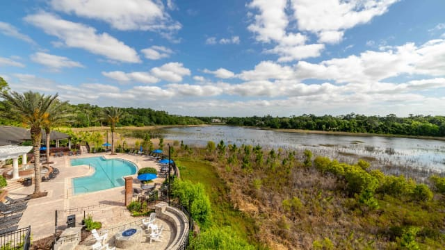 Awesome backyard and lake view at Integra Landings in Orange City, Florida