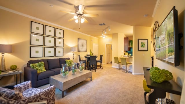 Renovated living room at Integra Woods in Palm Coast, Florida