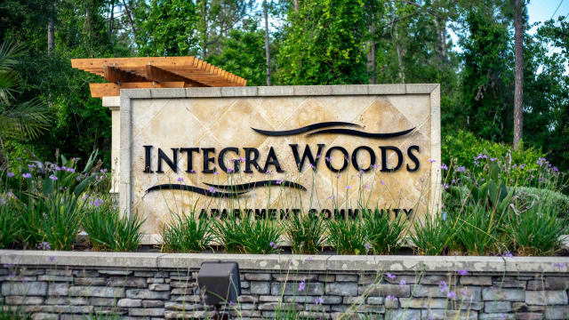 Front sign at Integra Woods in Palm Coast, Florida