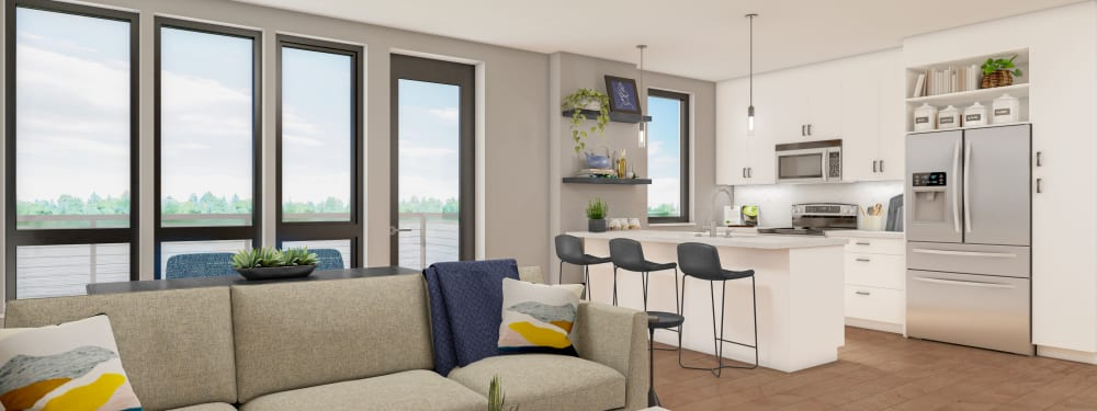 Interior Apartment Rendering with view of the River at The Columbia at the Waterfront in Vancouver, Washington