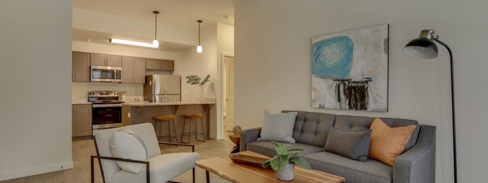 Living Room and Kitchen View at Haven Hills in Vancouver, Washington