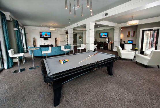 One of the billiard tables in the clubhouse at Celsius in Charlotte, North Carolina